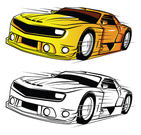 Coloring book Super Car cartoon character Vector