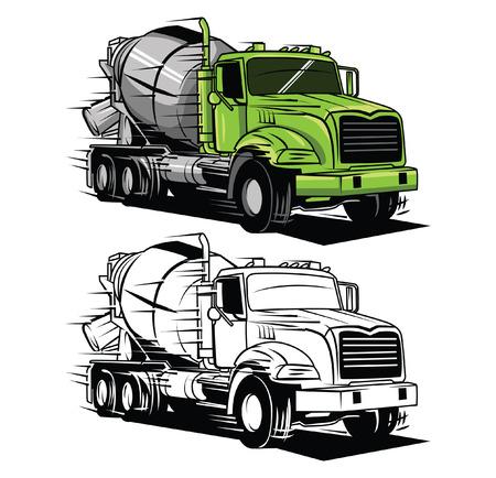 Coloring book big truck cartoon character 일러스트