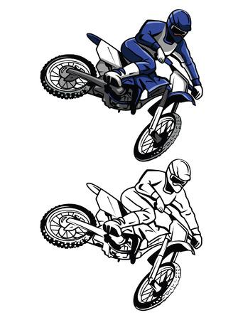 Coloring book moto cross cartoon character Vectores