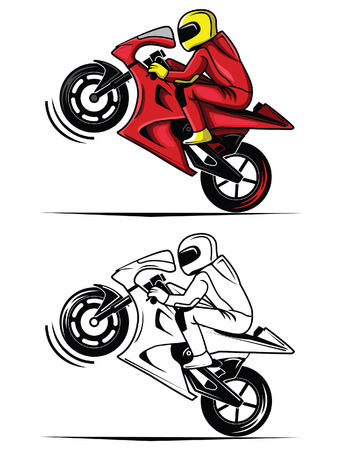 Coloring book moto race cartoon character Çizim