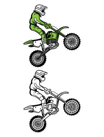 Coloring book Moto Cross cartoon character