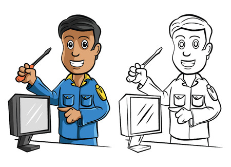Coloring book Technician cartoon character