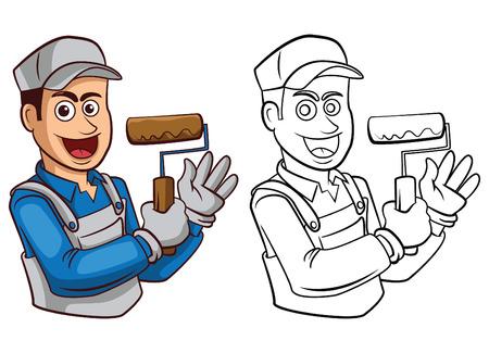 obrero caricatura: Libro para colorear dibujos animados Pintor