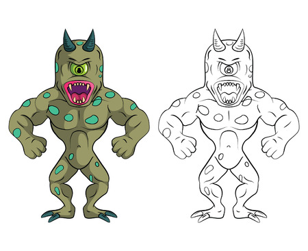 one eyed: Coloring book One eye Monster cartoon character Illustration