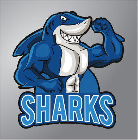male animal: Sharks Mascot Illustration