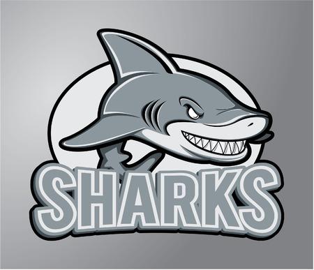 shark fin: Sharks Mascot Illustration