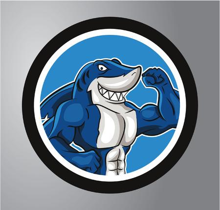 Shark Circle sticker Vector