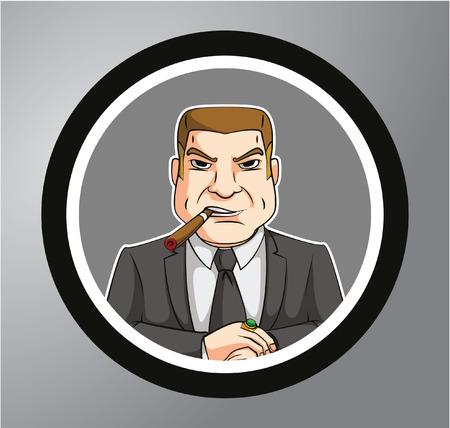 recline: Big boss Circle sticker Illustration