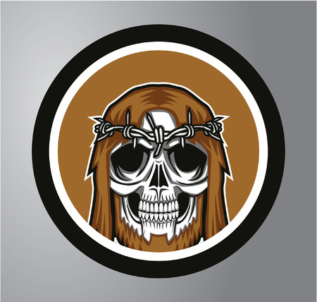 vector skull danger sign: Skull Circle sticker