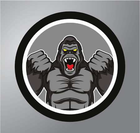 Gorilla Circle sticker Vector