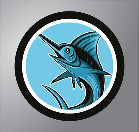 blue smiling: Marlin fish Circle sticker Illustration