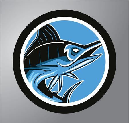 blue marlin: Marlin Circle sticker
