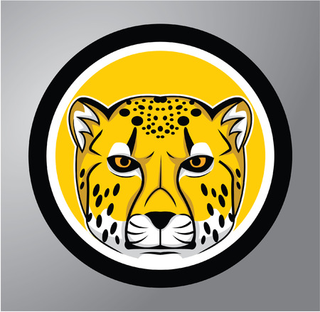 Cheetah Circle sticker Vector