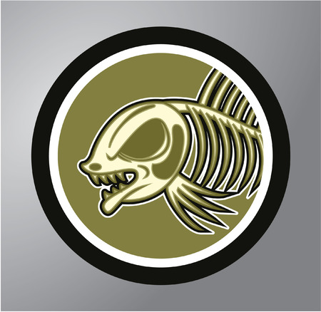 illustration of black fishbone: Dead fish Circle sticker