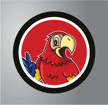 Parrots Circle sticker Vector