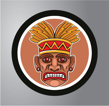 Tiki Circle sticker Vector