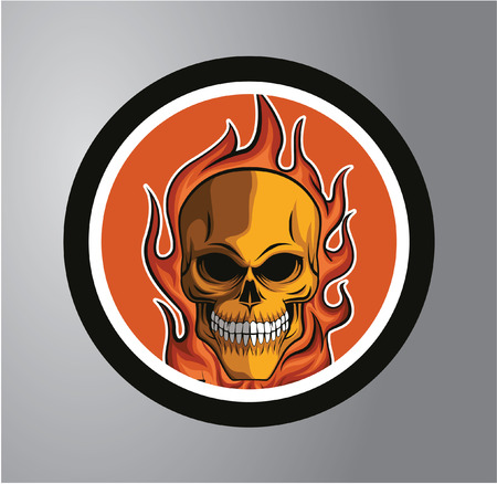 Fire skull Circle sticker Stock Illustratie