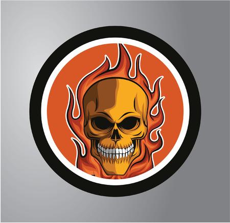 Fire skull Circle sticker Illustration