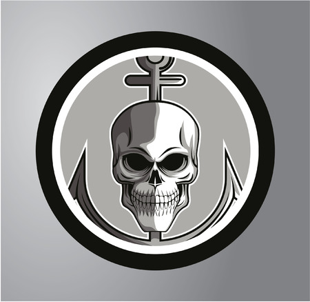 Sailor skull Circle sticker Vector