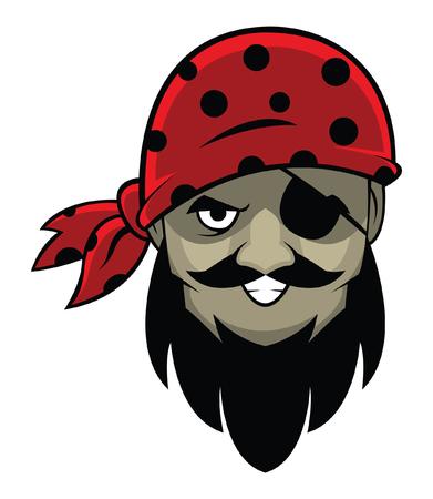 one eye: One eye Pirate head Illustration