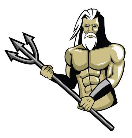 ilustration dioses Neptuno Ilustración de vector