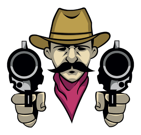 cowboy cartoon: Cowboy shoot with the gun Illustration