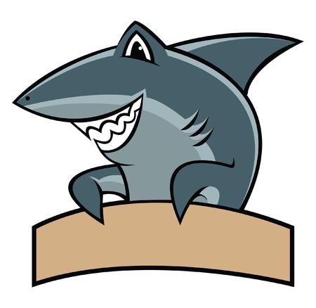 サメに漫画のマスコット  イラスト・ベクター素材