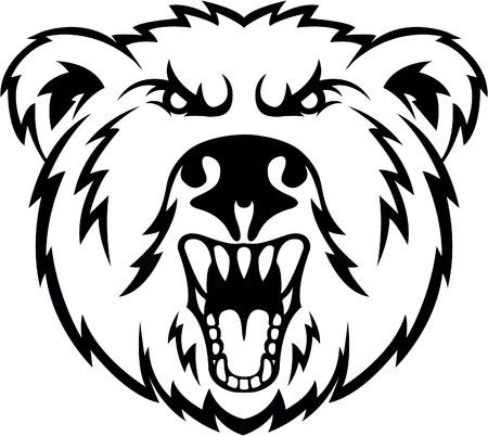 angry bear: Angry bear symbol illustration