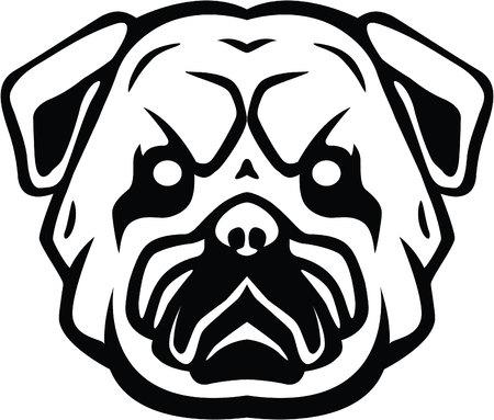labrador teeth: Bulldog head symbol illustration