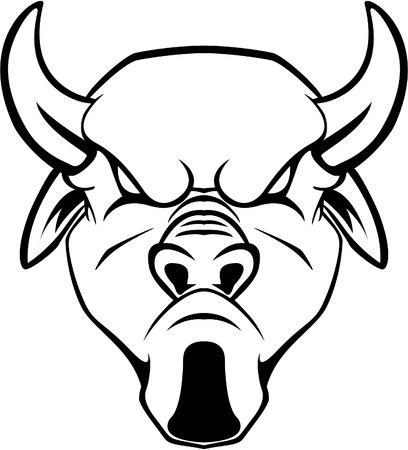 toro arrabbiato: Angry bull symbol illustration