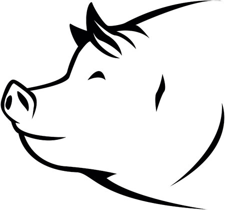 black and white image drawing: Pig symbol illustration Illustration