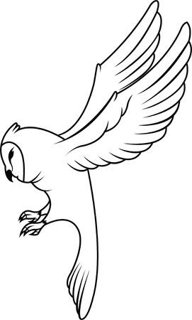 barn black and white: Owl Illustration