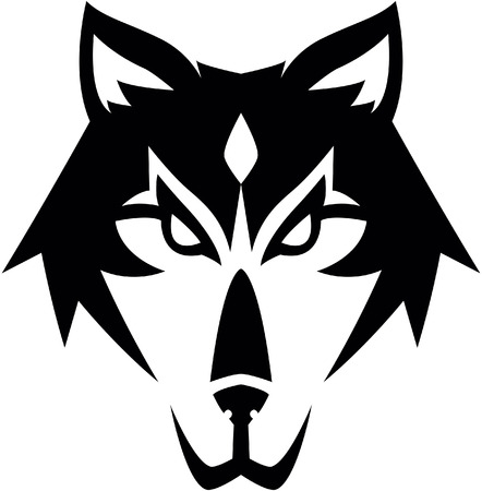 black and white wolf: Wolf symbol illustration design