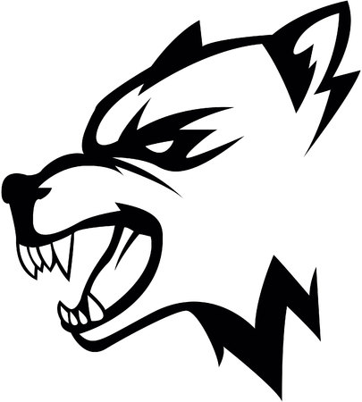 black wolf: Wolf head illustration design