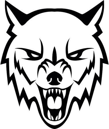 狼頭のイラスト デザイン