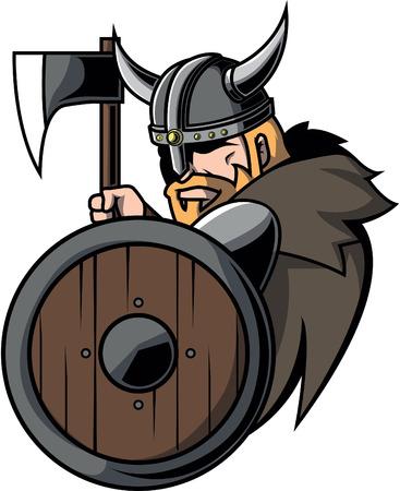 medieval warrior: Viking warrior illustration design Illustration