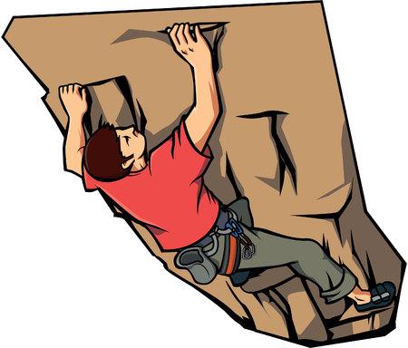 niño trepando: muro de escalada, ilustración, diseño Vectores