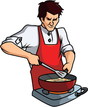 kitchen cooking: Cooking man cartoon illustration