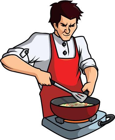 Cooking man cartoon illustration