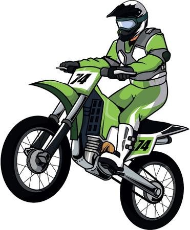 jinete: Motor cross, ilustración, diseño