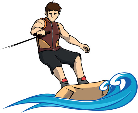 Wake boarding sport illustration