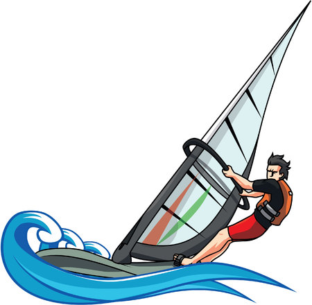 Wind surfing illustration design