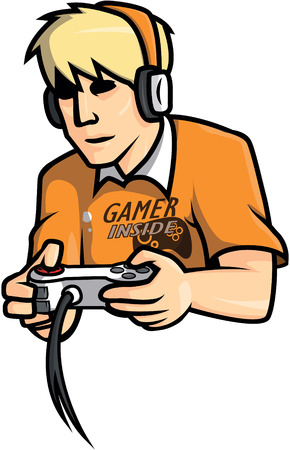 gamers: Gamers man illustration design