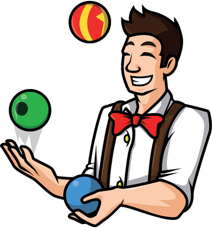 juggle: man juggling ball illustration design