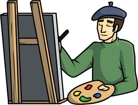 painter cartoon: paintings artist illustration design