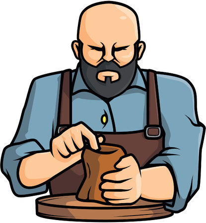potter: Pottery man illustration design