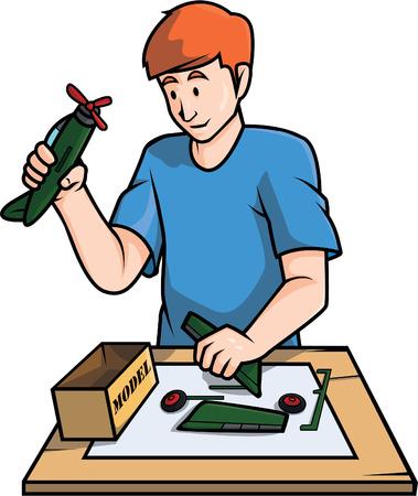 장난감 모델 건물 일러스트 디자인