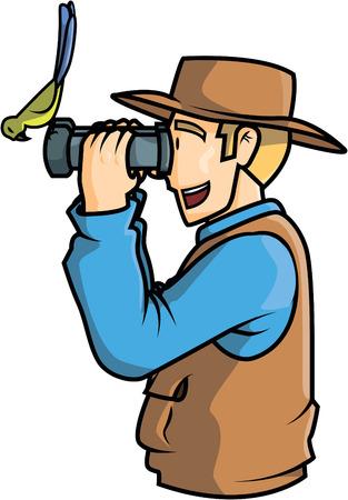 Man bird watching illustration design Vetores