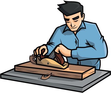 carpentry cartoon: Wood worker