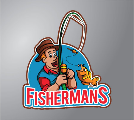 fishing boats: Fisherman Illustration design badge
